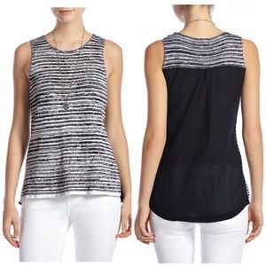 Lucky Brand Echo Striped Knit Woven Back Tank Top